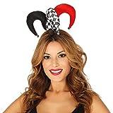 NET TOYS Mini-Narrenkappe für Frauen | Schwarz-Weiß-Rot | Ausgefallene Damen-Kopfbedeckung Pierrot | Perfekt geeignet für Fasching & Karneval