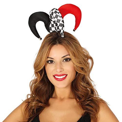Amakando Kleiner Harlekin-Hut für Erwachsene / Schwarz-Weiß-Rot / Kostüm-Accessoire Hof-Narr / Wie geschaffen zu Straßenkarneval & Mittelalterfest