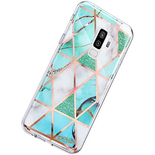 Herbests Kompatibel mit Samsung Galaxy S9 Plus Hülle Glänzend Glitzer Marmor Muster Schutzhülle Weich Silikon Ultra Dünn Handyhülle Handytasche Durchsichtige Silikon Hülle Case,Marmor Weiß Grün