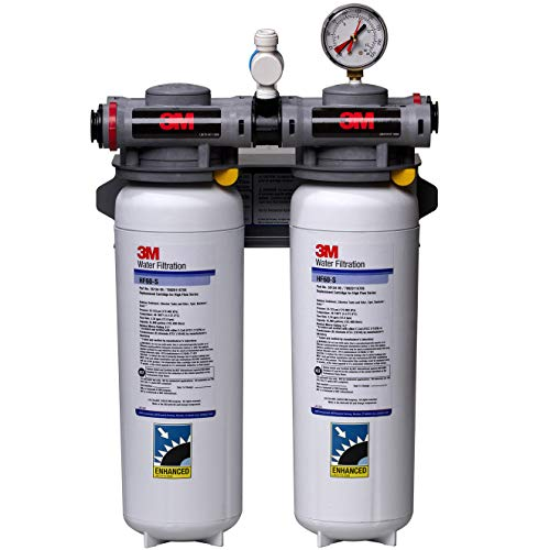 3M Water Filtration System for Commercial Ice Maker Machines ICE260-S, High Flow Series Dual Manifold, Reduces Bacteria, Sediment, Chlorine Taste and Odor, Scale, Cysts, 6.68 GPM, 70,000 Gal Capacity