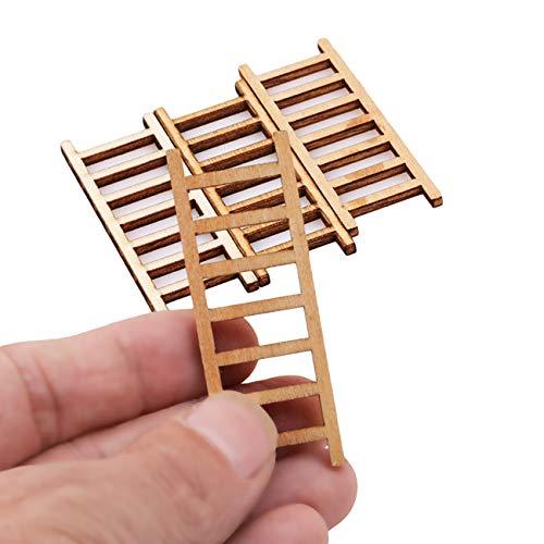 Kingus 4 Stücke Mini Miniatur Holz Stufenleiter Puppenhaus DIY Handwerk Spielzeug Ornamente Fee Garten Kit