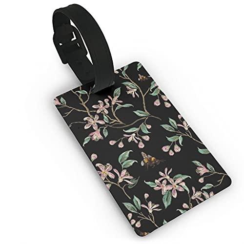 Etiquetas de equipaje de viaje con árbol japonés y abejas para equipaje de viaje, etiquetas para maletas, etiquetas para bolsos y maletas