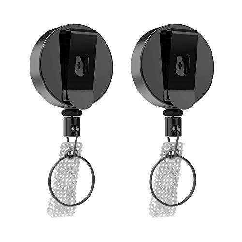Verbesserter 2-teiliger ausziehbarer schlüsselanhänger, RAGZAN Hochleistungs schlüsselband ausziehbar mit verdicktem Stahldraht für Schlüssel, Kartenhalter, Ausweishalter -70cm einziehbarer Stahldraht