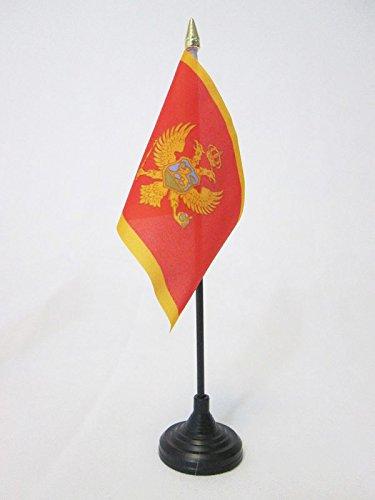 AZ FLAG TISCHFLAGGE Montenegro 15x10cm goldene splitze - MONTENEGRINISCHE TISCHFAHNE 10 x 15 cm - flaggen