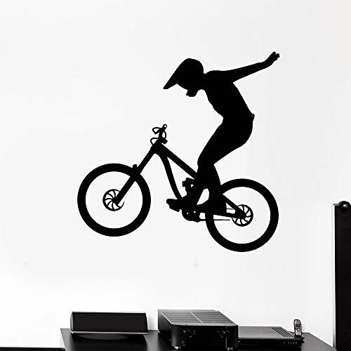 Bicicleta de montaña BMX Bicicleta Deportes extremos Casco Jugador Freestyle Etiqueta de la pared Calcomanía de vinilo Niño Niños Fans Dormitorio Sala de estar Club Estudio Decoración para el hog
