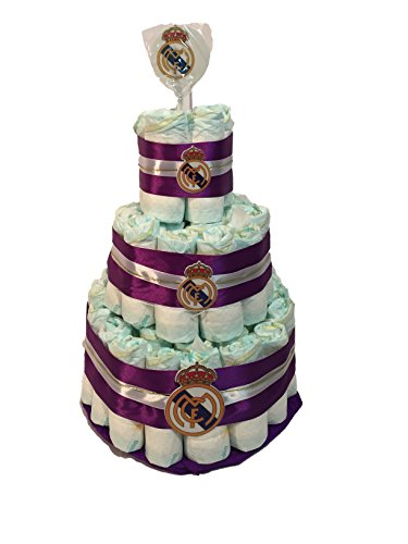 Tarta de pañales DODOT Real Madrid piruleta