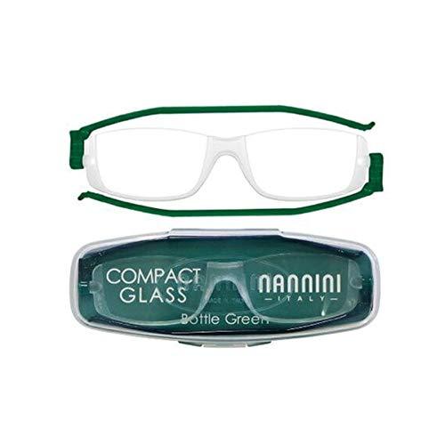 老眼鏡 コンパクトグラス2 nannini リーディンググラス 男性用 女性用 メンズ レディース シニアグラス 全12色(+3.50,ボトルグリーン)