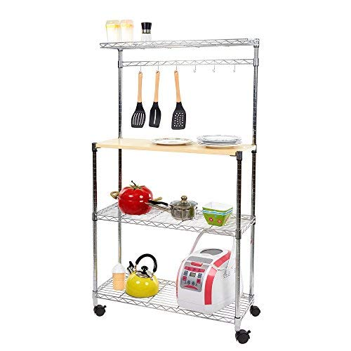 Dporticus 4 Tier Adjustable Kitchen Bakers Storage Rack Rolling Microwave Oven Stand Shelf with Spice Rack Organizer and Cutting Board