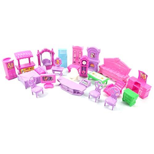 Hinder Juego de 22 piezas mixtas de casa de muñecas, modelo de plástico, muebles en miniatura, accesorios para bebés y niños, juguetes de juego para niños, regalo de casa de muñecas