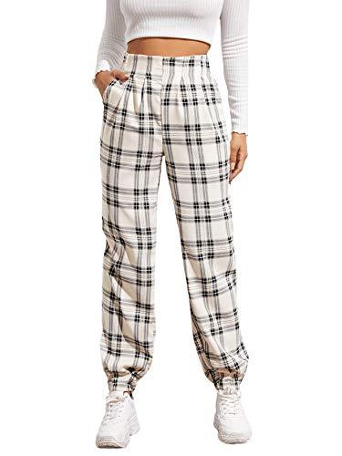 WDIRARA Women's Plaid Elastic High Waist Casual Tartan Pants with Pockets Black and White S