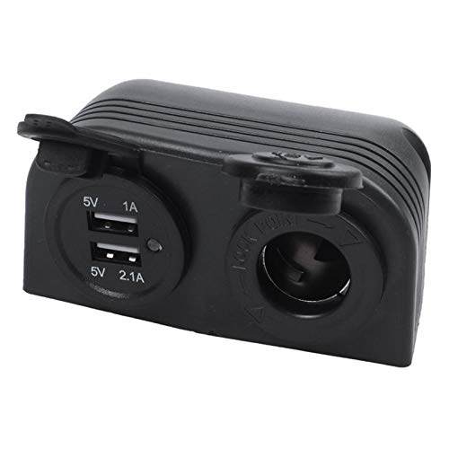 XINXIN LakerBig Doble Barco Caravana Coche USB Cigarrillo Encendedor Socket Splitter 12V Adaptador de Cargador (Color Name : Black)