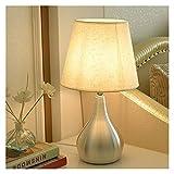 Lámparas de mesa modernas -Lámparas de mesa de noche Small Moderstand escritorio Conjunto con lámpara de tela Shade y plateado Metal Base