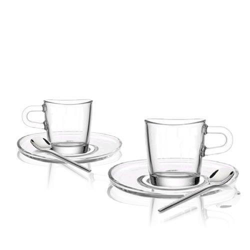 Leonardo Espresso Set 12 tlg. Loop / 4 Espressotassen, 4 Untersetzer und 4 Löffel