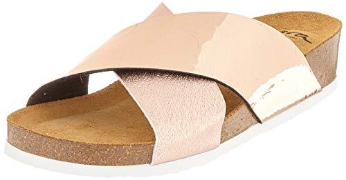 ara Women's Slide Flat Sandal, Gold, Rosegold, 7.5-8