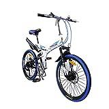 22in bicicleta de montaña plegable for adultos, unisex al aire libre plegable de la bicicleta de 7 velocidades, suspensión completa Bicicletas Marco doble del freno de disco, delantero + trasero Mudga
