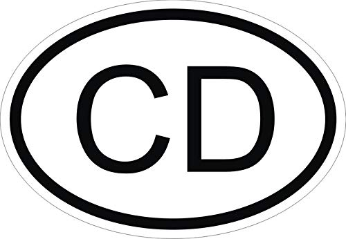 Diplomatic corps CD Country Code Oval Vinyl Sticker for Car Motorcycle Bicycle Luggage Skateboard Laptop Guitar Stickers - 4 Inches