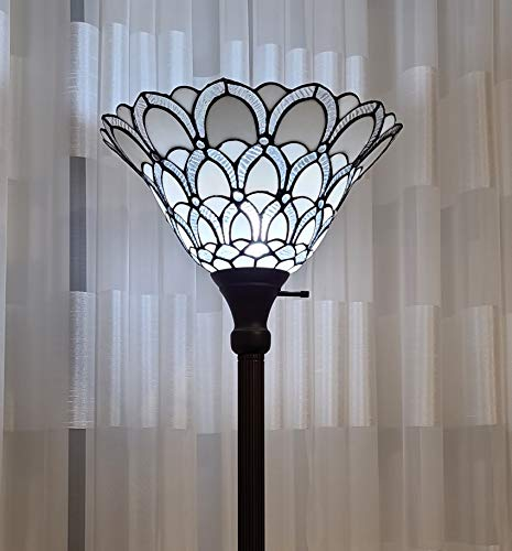 Tiffany Style Torchiere Standing Peacock Floor Lamp