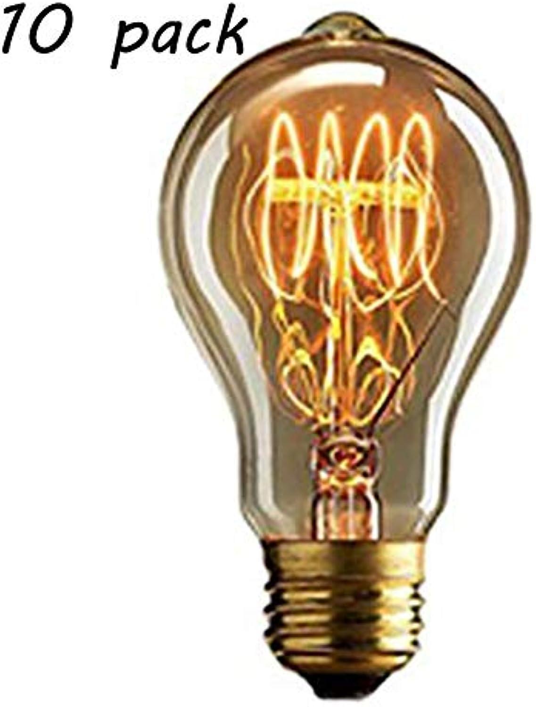 QWER Vintage GlüHbirne Edison GlüHlampe Vintage GlüHlampe 40W 220 V Warmwei Ideal FüR Antike Beleuchtung Und Nostalgie 10 Pack E27