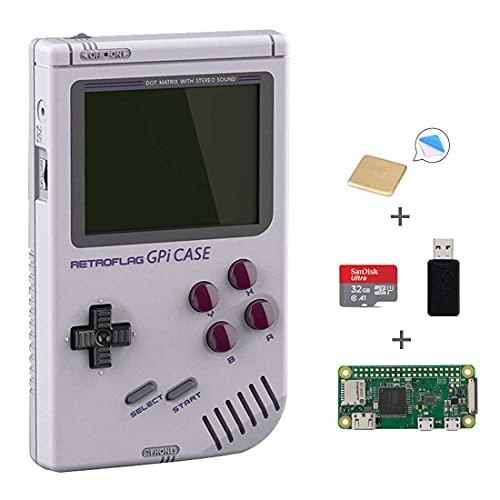 AKNES RETROFLAG GPi Case para Raspberry Pi Zero y Zero W, Caja de GPi con Raspberry Pi Zero, Tarjeta microSD de 32GB, Lector de Tarjetas y Disipador de Calor
