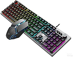لوحة مفاتيح وماوس AULA T200 كومبو أسود متعدد الوظائف بتأثيرات الإضاءة الخلفية