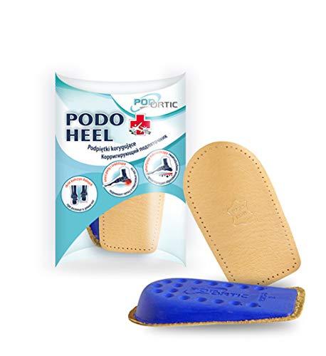 FabaCare Premium Schuheinlage Podo Heel aus Echtleder und Gelschicht, Fersenpolster, Fersenkissen, Fersenkeil, Herren 1,5 cm
