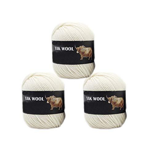 3 Balls Thick Yak Wool Yarn Soft Cashmere Thread Knitting Worsted Blended Crochet Yarn for DIY Sweater Scarf Gloves Yarn 300g (Cream White)
