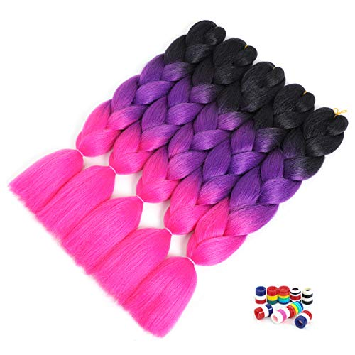 NOWMEHAIR Synthetic Ombre Braiding Hair Kanekalon Jumbo Braids Hair Extensions Jumbo Braiding For Twist Braiding 24Inches Yaki Dreadlock Deads 3.5Oz/Pcs 5 Pcs/Lot (Black/Purple/Rose-Red)