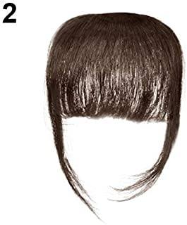 Potelin Premium Quality Wig | Fashion Women Girl Thin Straight Clip on Front Fringe Bangs Hair Extension Dark Brown
