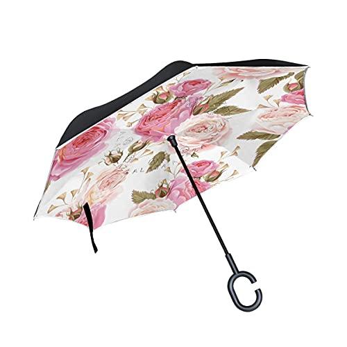 Paraguas plegables Amor Rosa Flor Rosa Paraguas Invertido Antiviento Protección contra Rayos UV Ligero Compacto Invertida Paraguas para Coche Viajes Playa Mujeres Niños Niñas