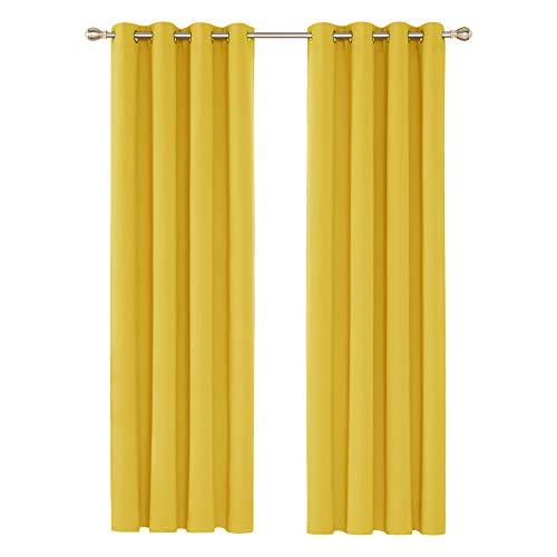 Deconovo Blickdichte Gardinen Ösenvorhang Vorhänge Thermovorhang Wohnzimmer 242x132 cm Senfgelb 2er Set