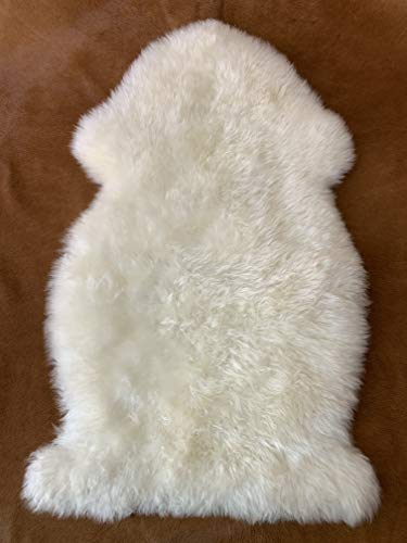 Genuine Australian Animal Sheepskin Rug Ivory White Single Pelt 2x3 ft Real Natural Sheep Hide Fur Area Rug Wool Mat Suede Leather Back by Nature's Robe