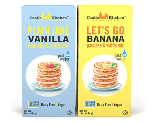 Plant-Based Pancake and Waffle Mix Variety Pack - Dairy-Free, Vegan Complete Mixes, Just Add Water - Lets Go Banana & Plain Jane Vanilla - 16 oz Each (Pack of 2 Boxes)