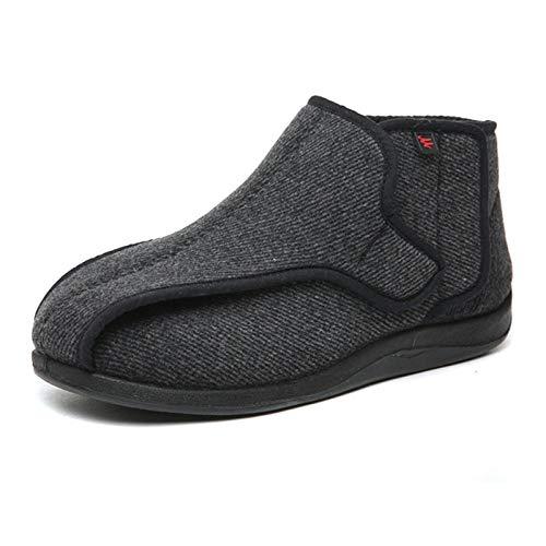 B/H Scarpa Ampia per Pantofole artrite,Scarpe con Velcro allargate in Tessuto a Righe Invernali,Scarpe diabetiche gonfie e Larghe e Grigie-Nero Grigio_41