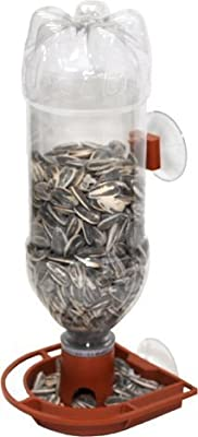 Gadjit Soda Bottle Window Bird Feeder, Suctions to Windows Brings Birds Up Close, Attaches to Outdoor Window, Uses Plastic Soda Bottles Filled with Bird Seed, Fun Project for Kids at Home(Terra Cotta)