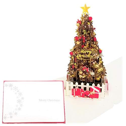 クリスマスグリーティングカード (赤, Premium L) ポップアップ 高級 おしゃれ プレゼント メッセージ グリーティングカード クリスマスカード