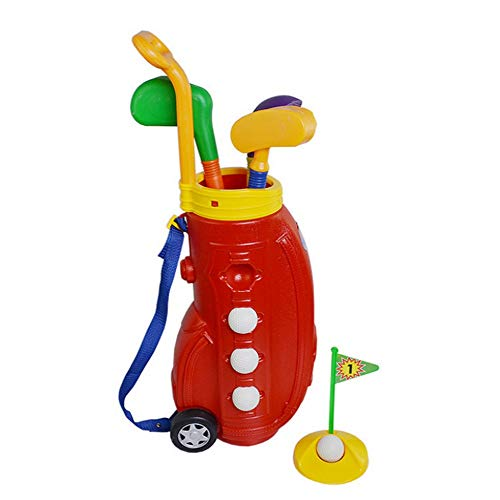 Liuxiaomiao Golfspielzeug, für Kinder, Golfschläger-Set, Golfspielzeug, mit Golfwagen, früh lehrend, Outdoor, Übungsspielzeug für Kinder, drinnen und draußen, Plastik, rot, Free Size