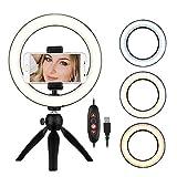 Anillo De Luz 8,6 Pulgadas De La Lámpara Del Anillo De Luz LED De 3 Modos De Luz Y Brillo Regulable Con Soporte Del Trípode Del Teléfono Celular Selfie Ringlight ( Color : Black , Size : 8.6 Inch )