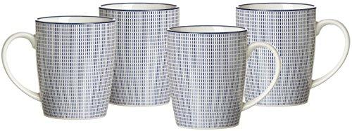Ritzenhoff & Breker Kaffeebecher-Set Royal Makoto, 4-teilig, 350 ml, Porzellangeschirr, Blau-Weiß