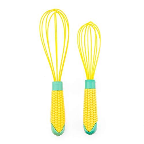 kerryshop Chef Aid Whisks 2 Stück Silikon-Ballonschneebesen Küche Multi-Funktions-Schneebesen Handmixer Beater mit nettem Gemüse Griff for Kochen Schneebesen (Color : Yellow)