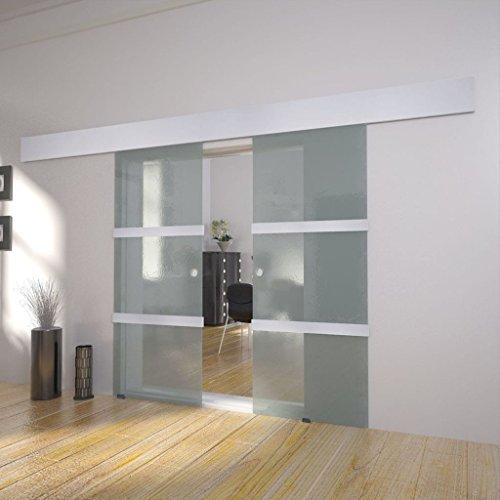 Tidyard Puerta corredera Doble de Vidrio Puertas correderas de Cristal 205 x 75 cm