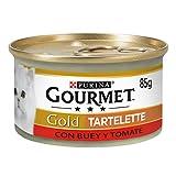 Purina Gourmet Gold Tartalette - Comida para Gatos Adultos con Buey y Tomate, 85 g, Pack de 24 Unidades