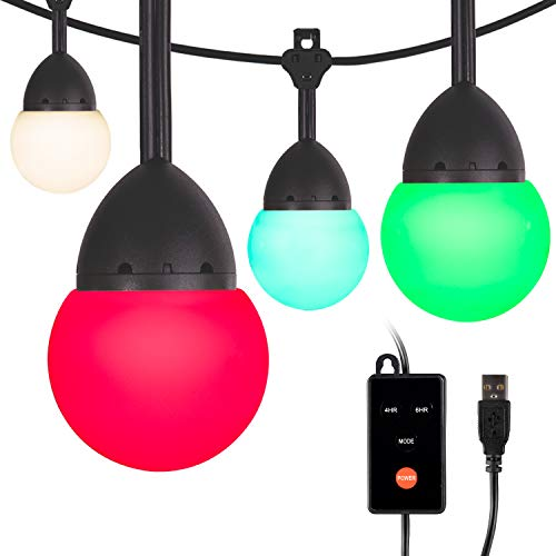 Enbrighten USB-Powered Café String Lights, 12ft, 12, LED, Indoor or Outdoor, Camping, Tailgate, Dorm Room, 48374, Round Bulb