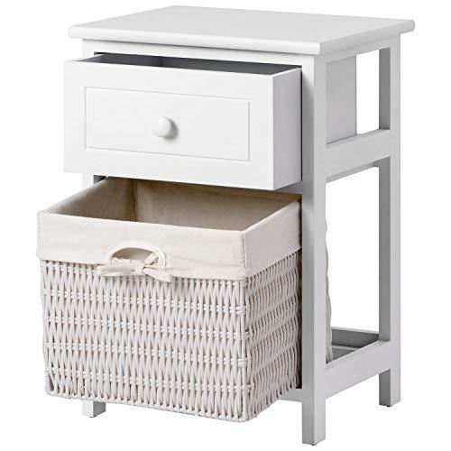 Wealthgirl Mesita de noche con cajón y capa, cesta de mimbre mini organizador de madera para dormitorio, mesita de noche, sofá