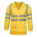 KINGOLDON Hooded Men's Long Sleeve Sweater Solid Color Coat Reflective Black Green Orange Yellow