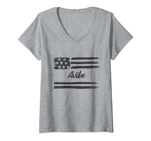 Mujer Avila, Nombre personalizado, barras y estrellas, bandera Camiseta Cuello V