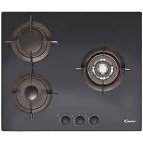 Candy CVG 63 SWPN Integrado Encimera de gas Negro - Placa (Integrado, Encimera de gas, Vidrio, Negro, 1000 W, Alrededor)