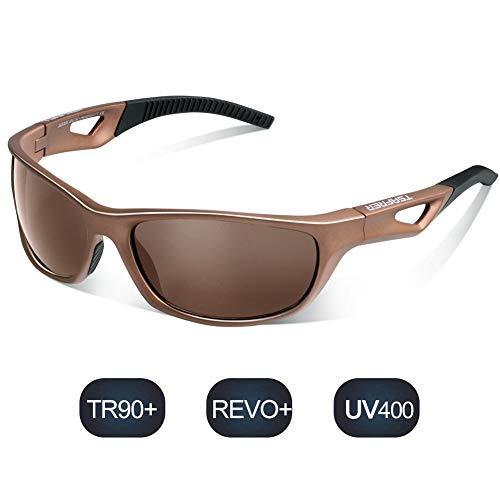 TSAFRER Sport Sonnenbrille Polarisierte Sportbrille Fahrradbrille mit UV400 Schutz für Damen und Herren Autofahren Laufen Radfahren Angeln Golf TR90 (Brown-Brown)