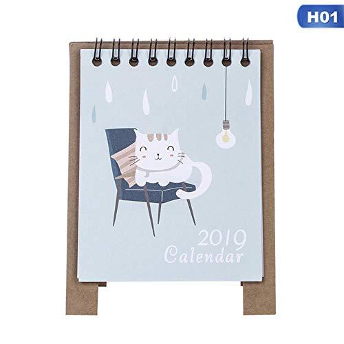 Grea 2019 Cartoon-Tischkalender Creative Desk Paper Multifunktionsfahrplan Plannotiz, 01