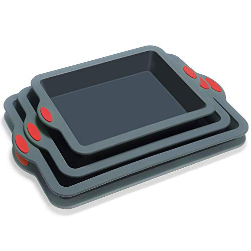 To encounter Silicone Baking Pans Set, 4 Pieces Nonstick Bakeware Set with Baking Pans, Baking Sheets, Cookie Sheets, Cake Pan with Metal Reinforced Frame More Strength, Dark Gray with Red Grips