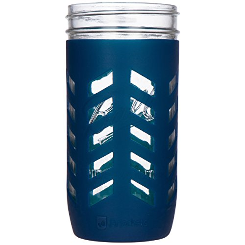 JarJackets Silicone Mason Jar Protector Sleeve - Fits Ball, Kerr 24oz (1.5 pint) Wide-Mouth Jars   Package of 1 (Midnight)